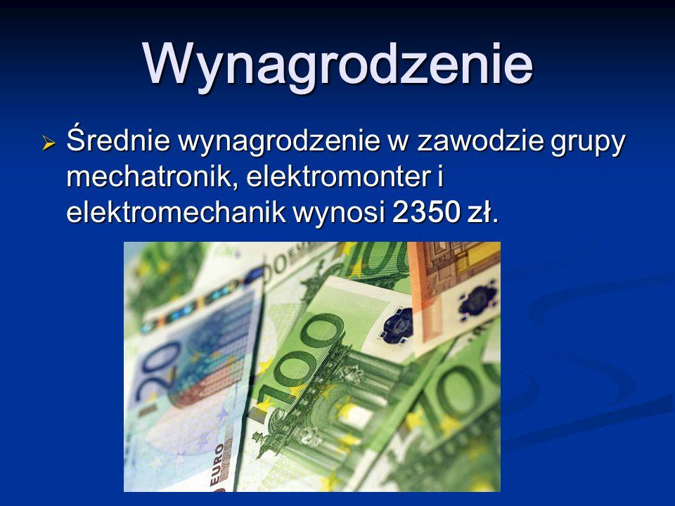 Wynagrodzenie Średnie wynagrodzenie w zawodzie grupy mechatronik, elektromonter i elektromechanik wynosi 2350 zł.