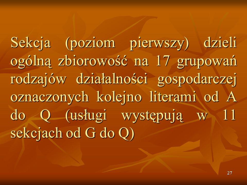 Sekcja (poziom pierwszy) dzieli ogólną zbiorowość na 17 grupowań rodzajów działalności gospodarczej oznaczonych kolejno literami od A do Q (usługi występują w 11 sekcjach od G do Q)