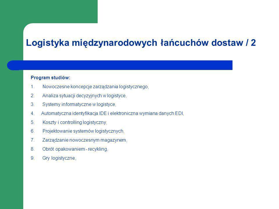 Logistyka międzynarodowych łańcuchów dostaw / 2