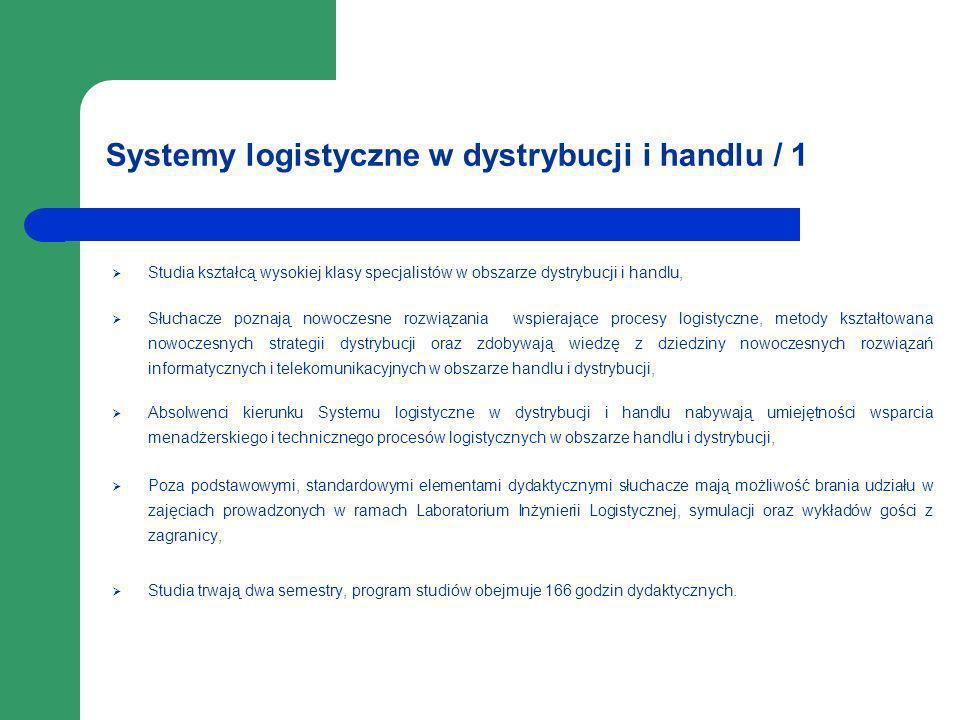 Systemy logistyczne w dystrybucji i handlu / 1