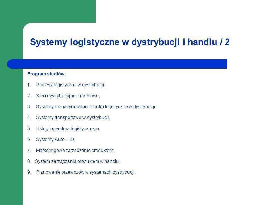 Systemy logistyczne w dystrybucji i handlu / 2