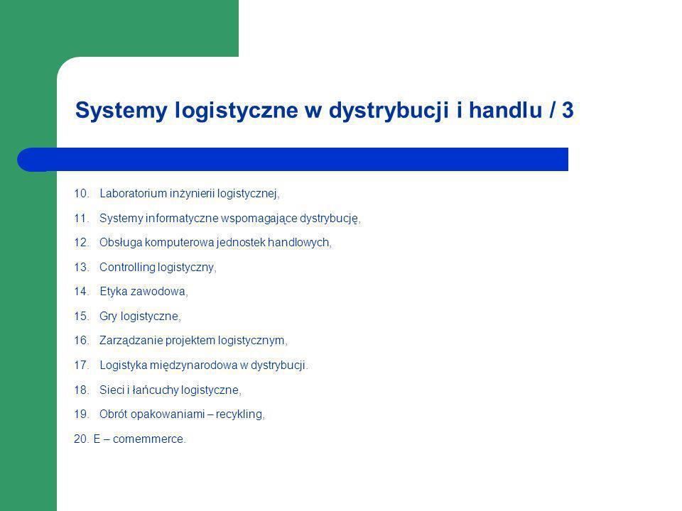 Systemy logistyczne w dystrybucji i handlu / 3