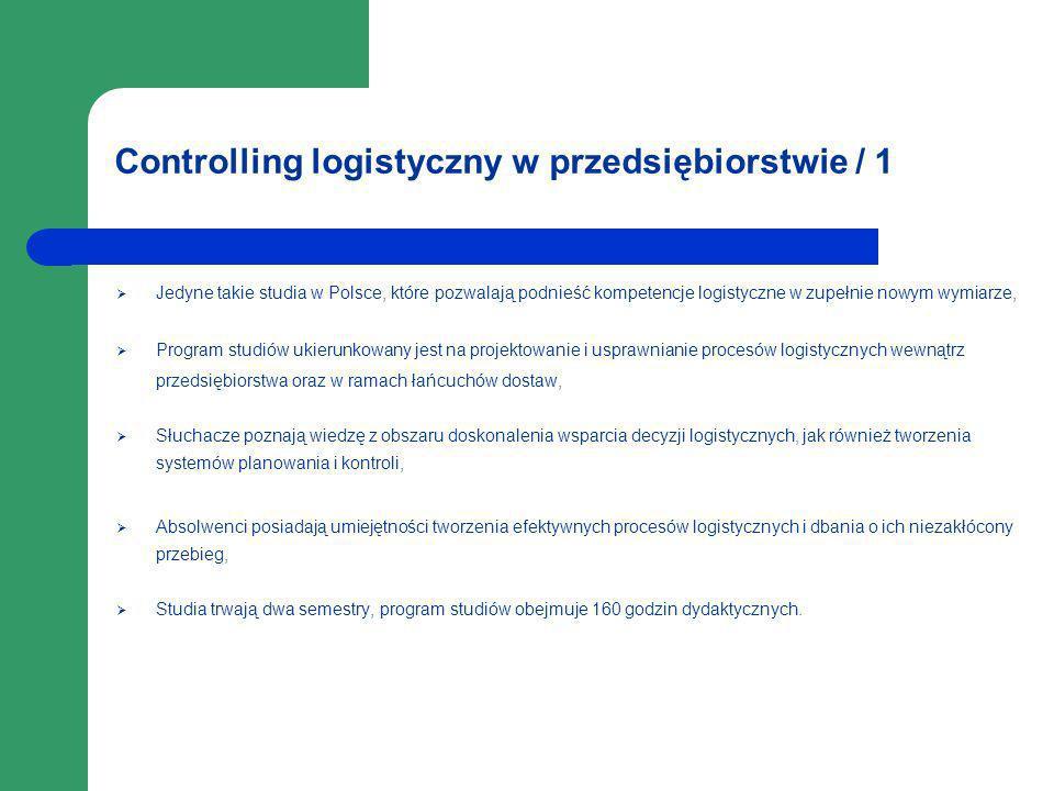 Controlling logistyczny w przedsiębiorstwie / 1