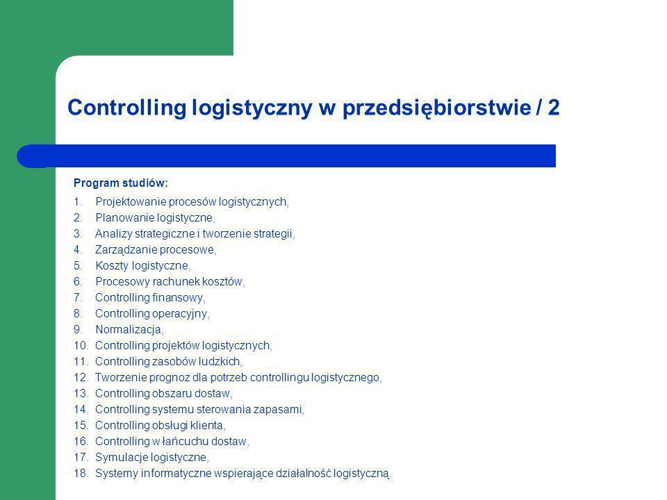 Controlling logistyczny w przedsiębiorstwie / 2