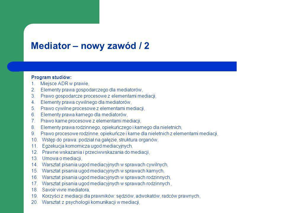 Mediator – nowy zawód / 2 Program studiów: 1. Miejsce ADR w prawie,