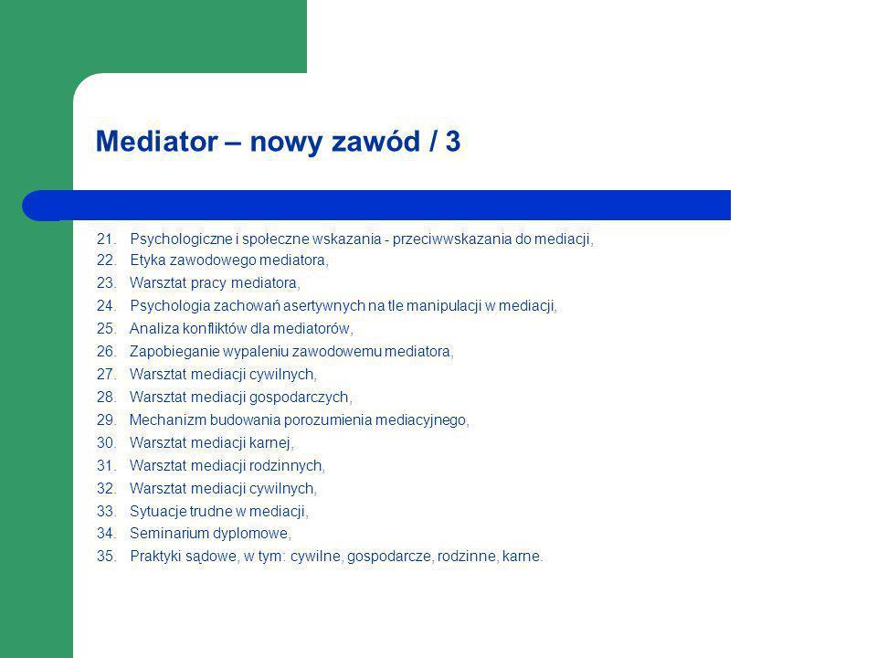 Mediator – nowy zawód / 3 21. Psychologiczne i społeczne wskazania - przeciwwskazania do mediacji,