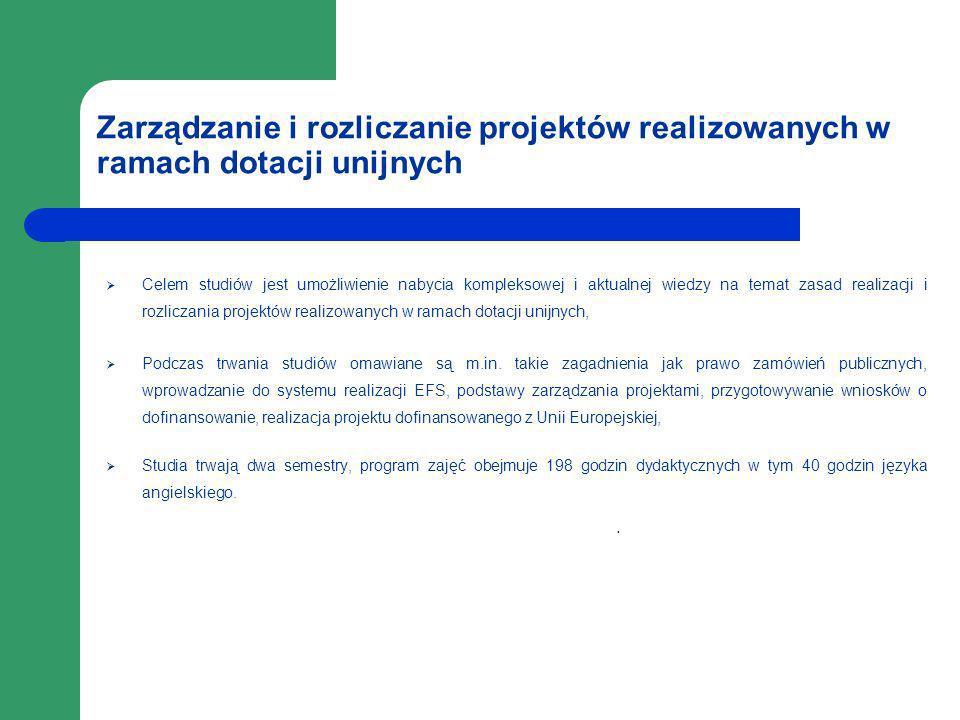 Zarządzanie i rozliczanie projektów realizowanych w ramach dotacji unijnych