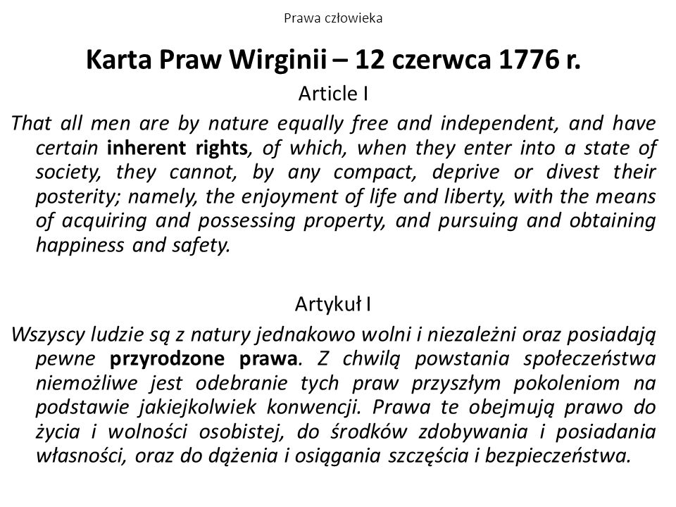 Karta Praw Wirginii – 12 czerwca 1776 r.
