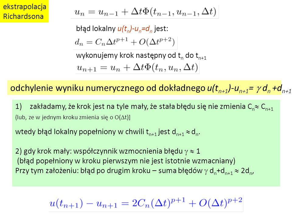 odchylenie wyniku numerycznego od dokładnego u(tn+1)-un+1= g dn +dn+1