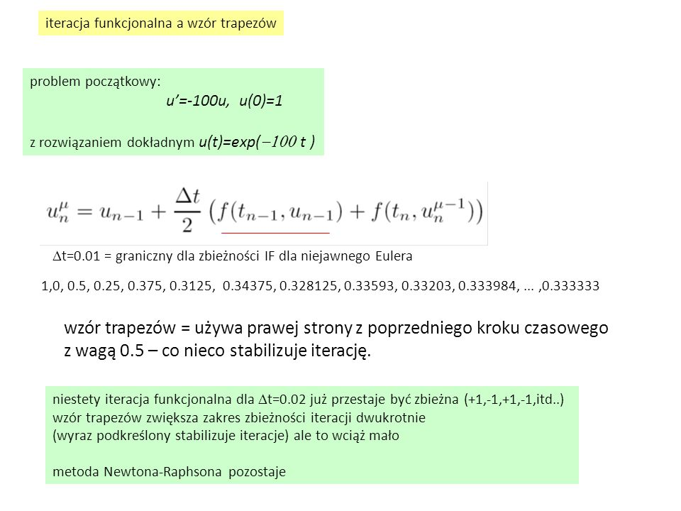 wzór trapezów = używa prawej strony z poprzedniego kroku czasowego