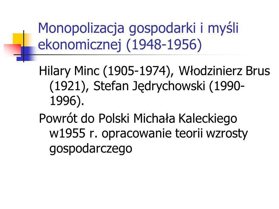 Monopolizacja gospodarki i myśli ekonomicznej (1948-1956)