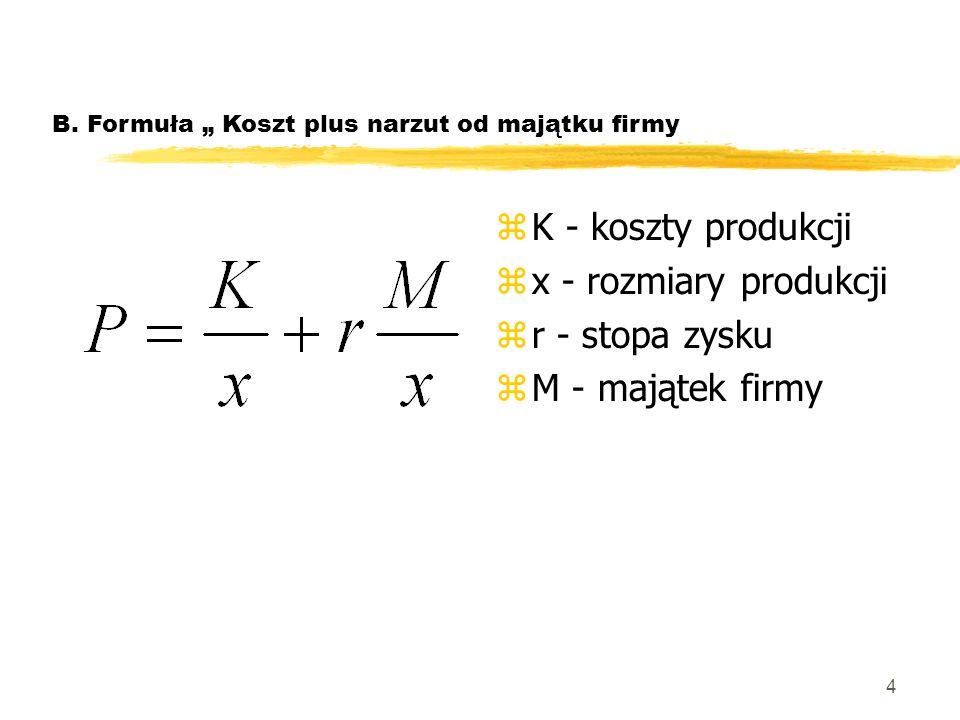 K - koszty produkcji x - rozmiary produkcji r - stopa zysku