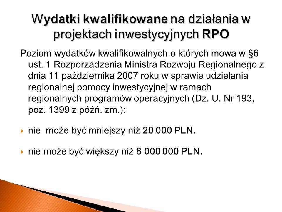 Wydatki kwalifikowane na działania w projektach inwestycyjnych RPO
