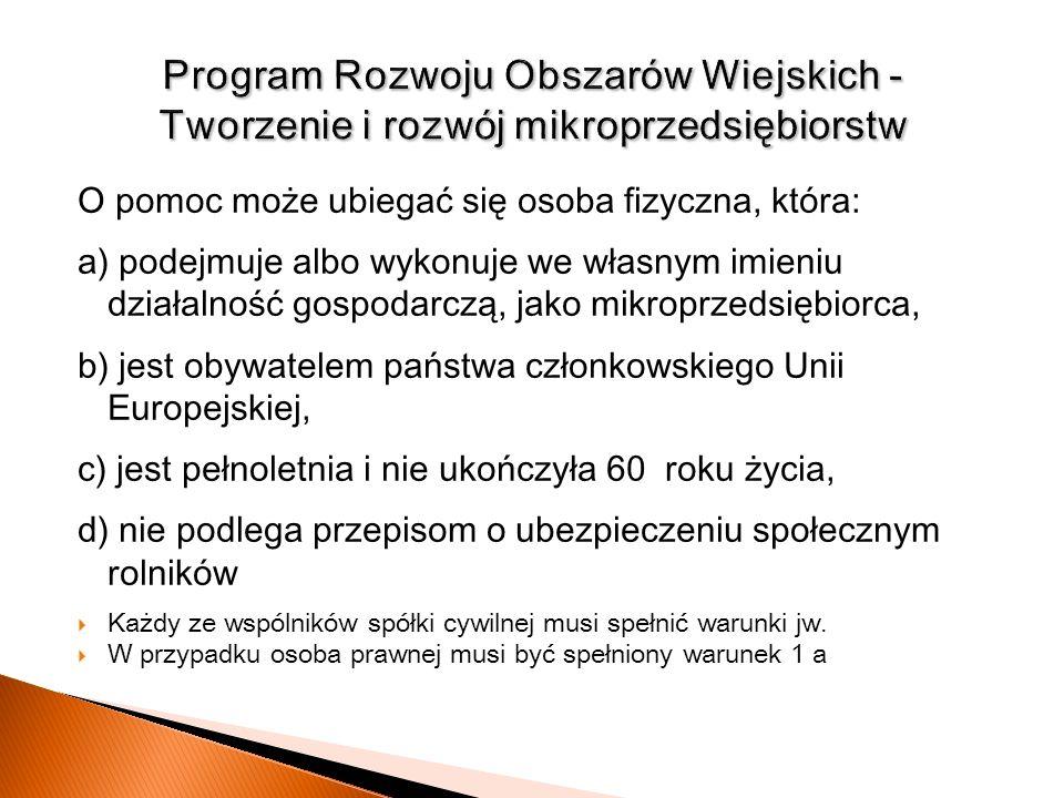 Program Rozwoju Obszarów Wiejskich - Tworzenie i rozwój mikroprzedsiębiorstw