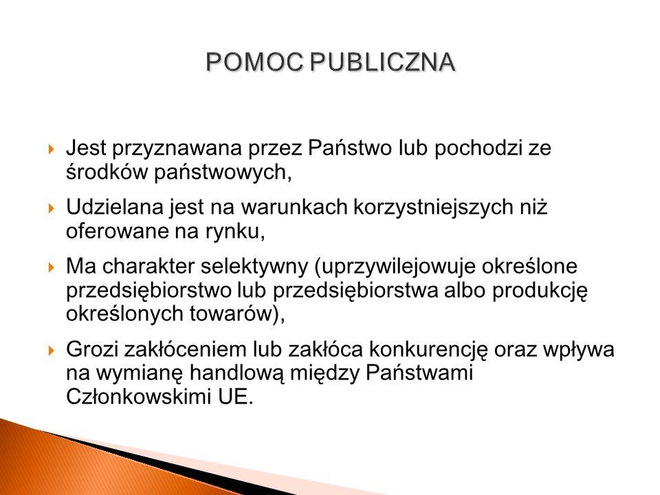 POMOC PUBLICZNA Jest przyznawana przez Państwo lub pochodzi ze środków państwowych,