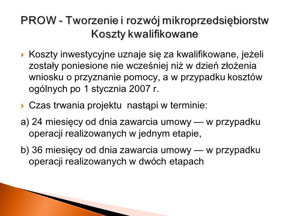 PROW - Tworzenie i rozwój mikroprzedsiębiorstw Koszty kwalifikowane
