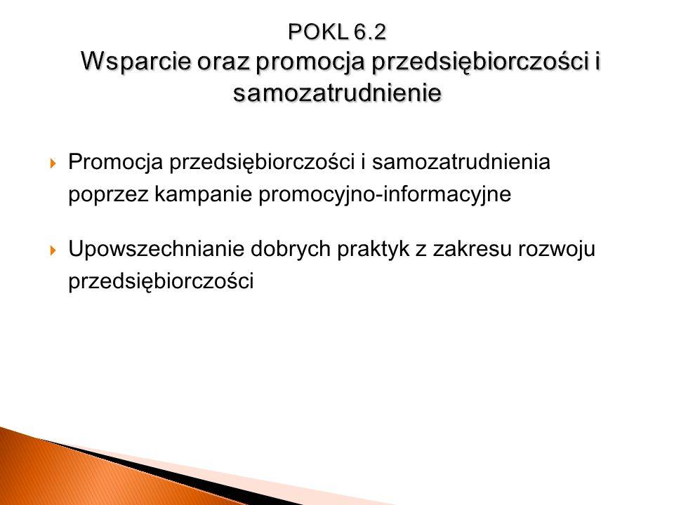 POKL 6.2 Wsparcie oraz promocja przedsiębiorczości i samozatrudnienie