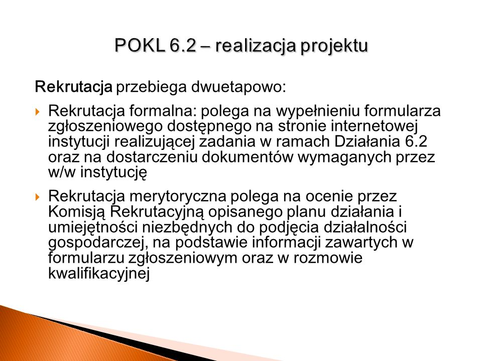 POKL 6.2 – realizacja projektu