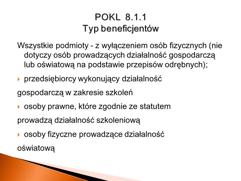 POKL 8.1.1 Typ beneficjentów