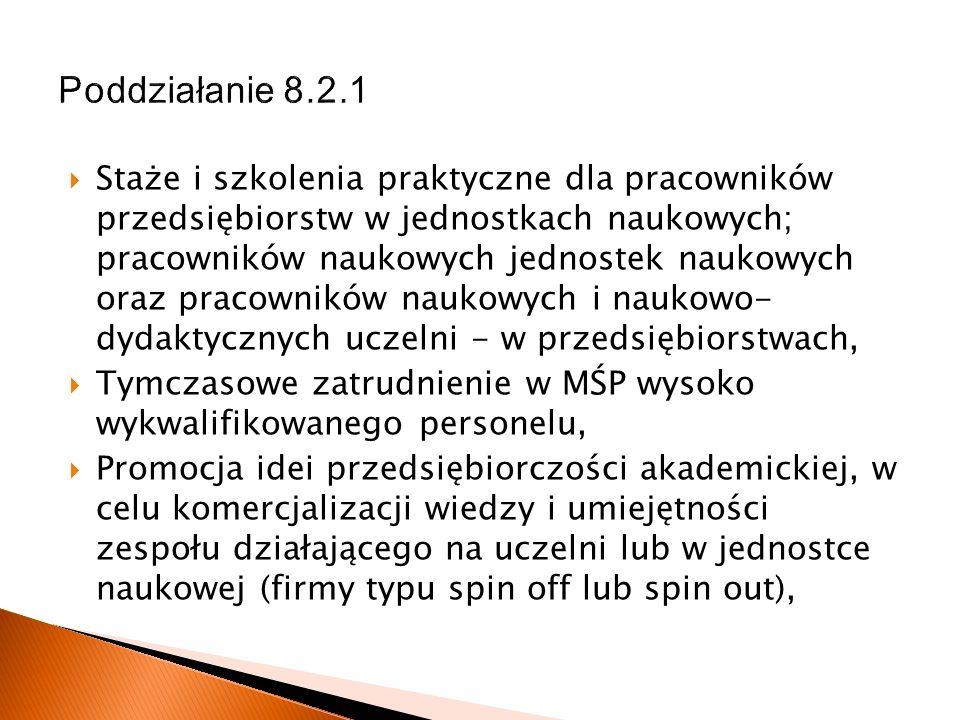 Poddziałanie 8.2.1