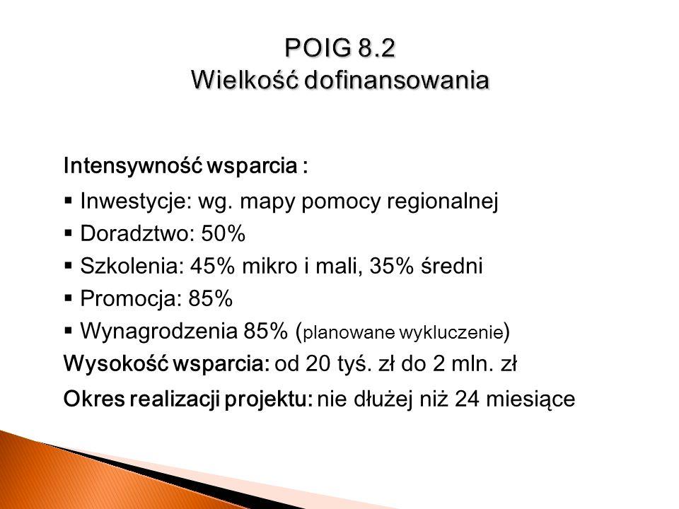 POIG 8.2 Wielkość dofinansowania