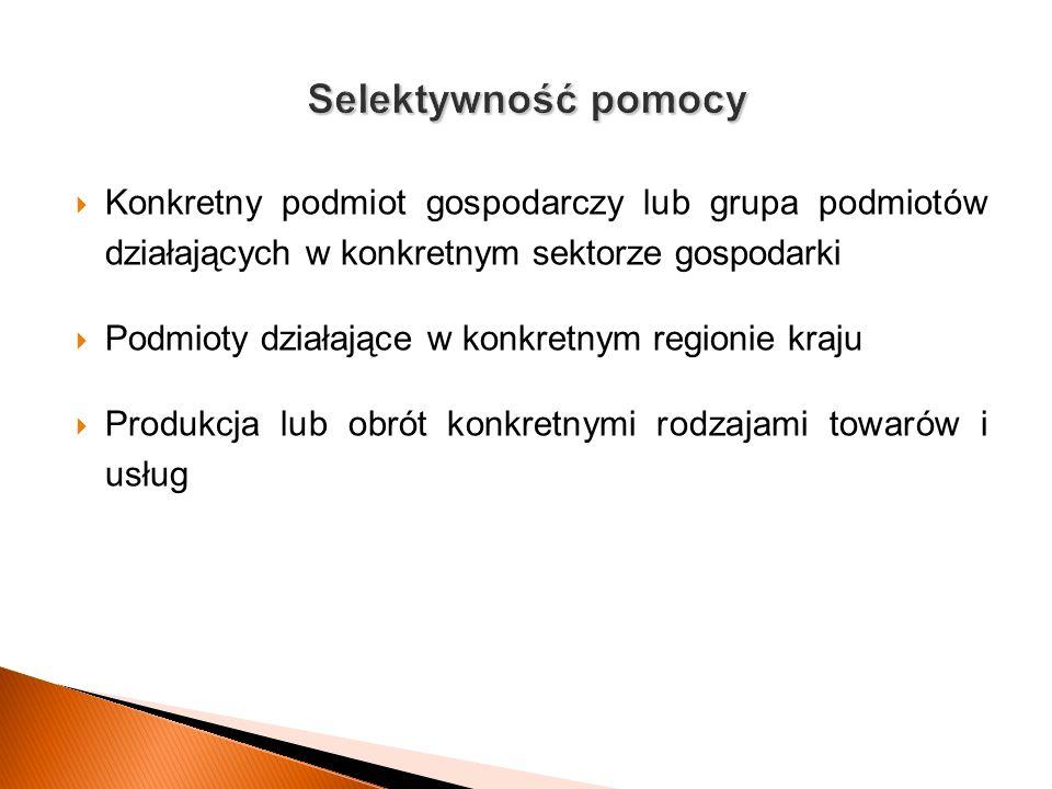 Selektywność pomocy Konkretny podmiot gospodarczy lub grupa podmiotów działających w konkretnym sektorze gospodarki.