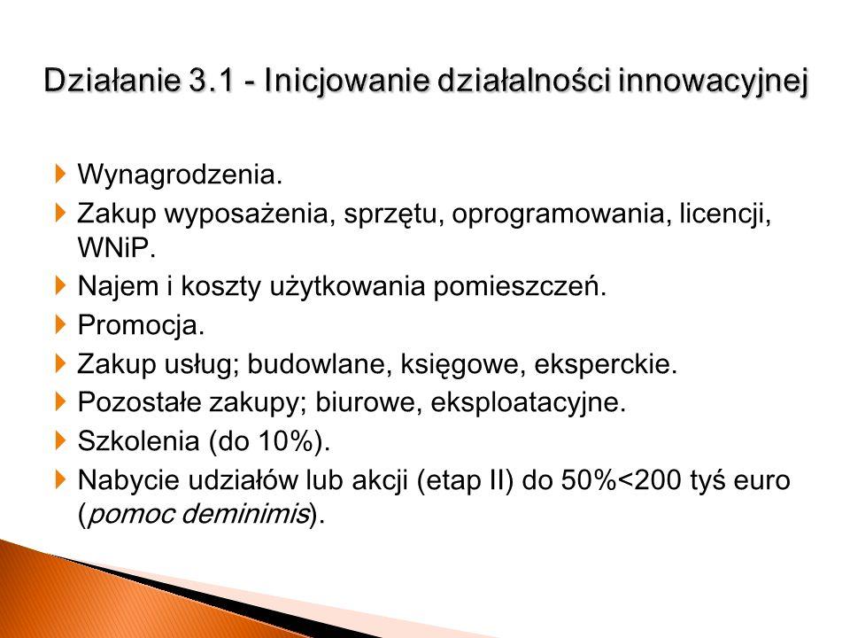 Działanie 3.1 - Inicjowanie działalności innowacyjnej
