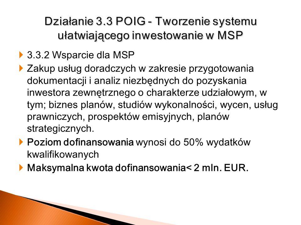 Działanie 3.3 POIG - Tworzenie systemu ułatwiającego inwestowanie w MSP