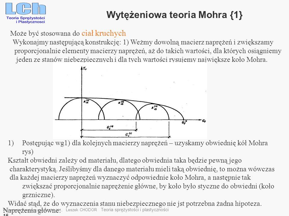 Wytężeniowa teoria Mohra {1}