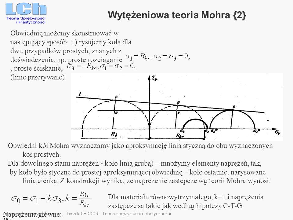 Wytężeniowa teoria Mohra {2}