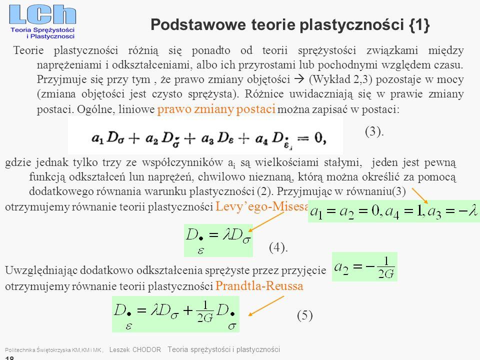 Podstawowe teorie plastyczności {1}