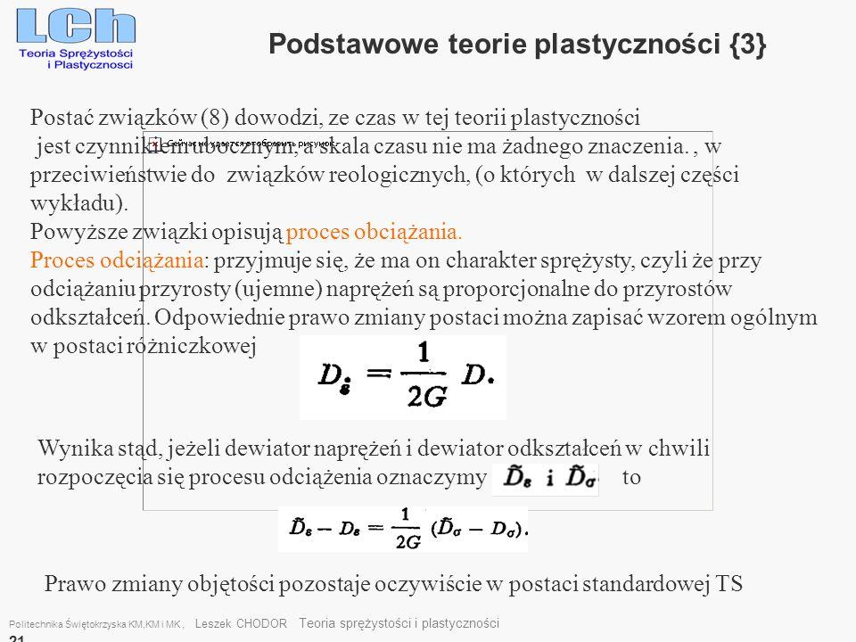 Podstawowe teorie plastyczności {3}