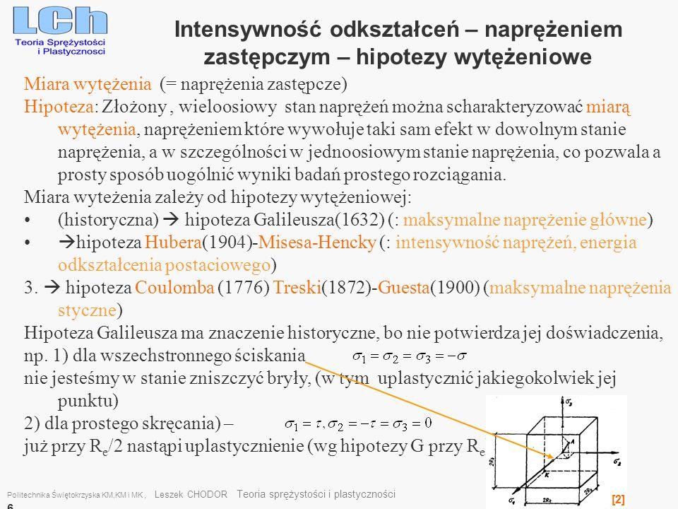 Intensywność odkształceń – naprężeniem zastępczym – hipotezy wytężeniowe