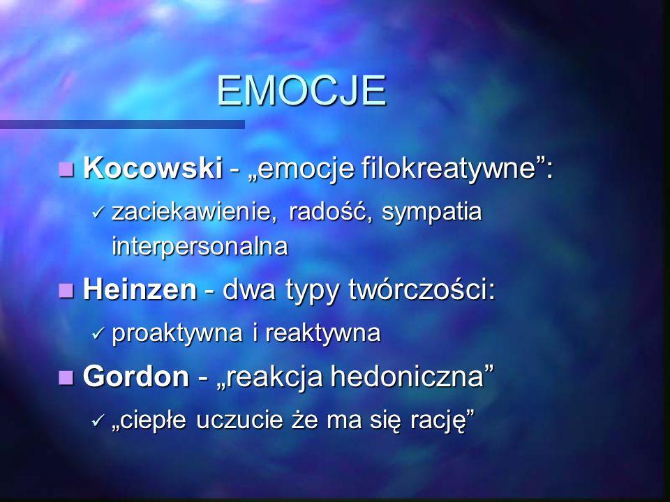 """EMOCJE Kocowski - """"emocje filokreatywne :"""