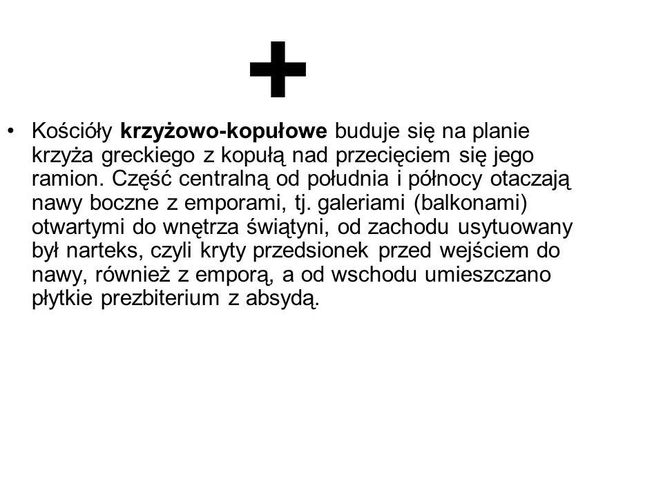 Kościóły krzyżowo-kopułowe buduje się na planie krzyża greckiego z kopułą nad przecięciem się jego ramion.
