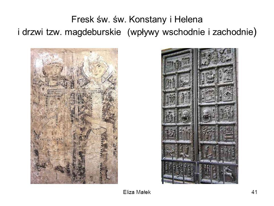 Fresk św. św. Konstany i Helena i drzwi tzw