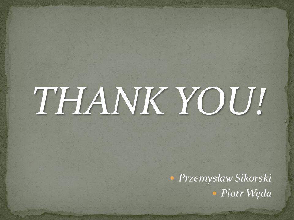THANK YOU! Przemysław Sikorski Piotr Węda
