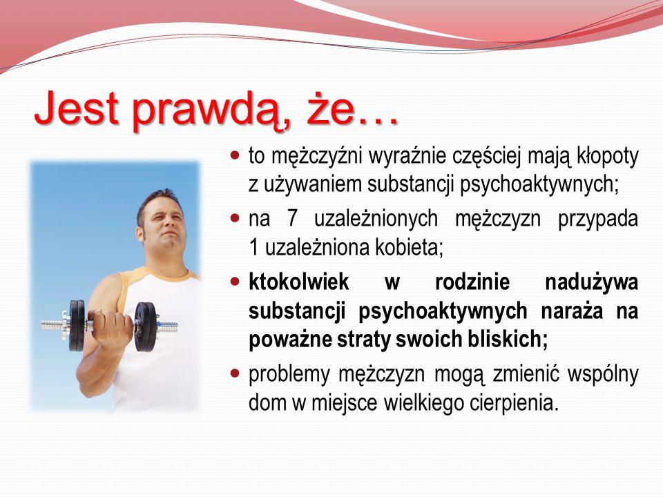 Jest prawdą, że… to mężczyźni wyraźnie częściej mają kłopoty z używaniem substancji psychoaktywnych;