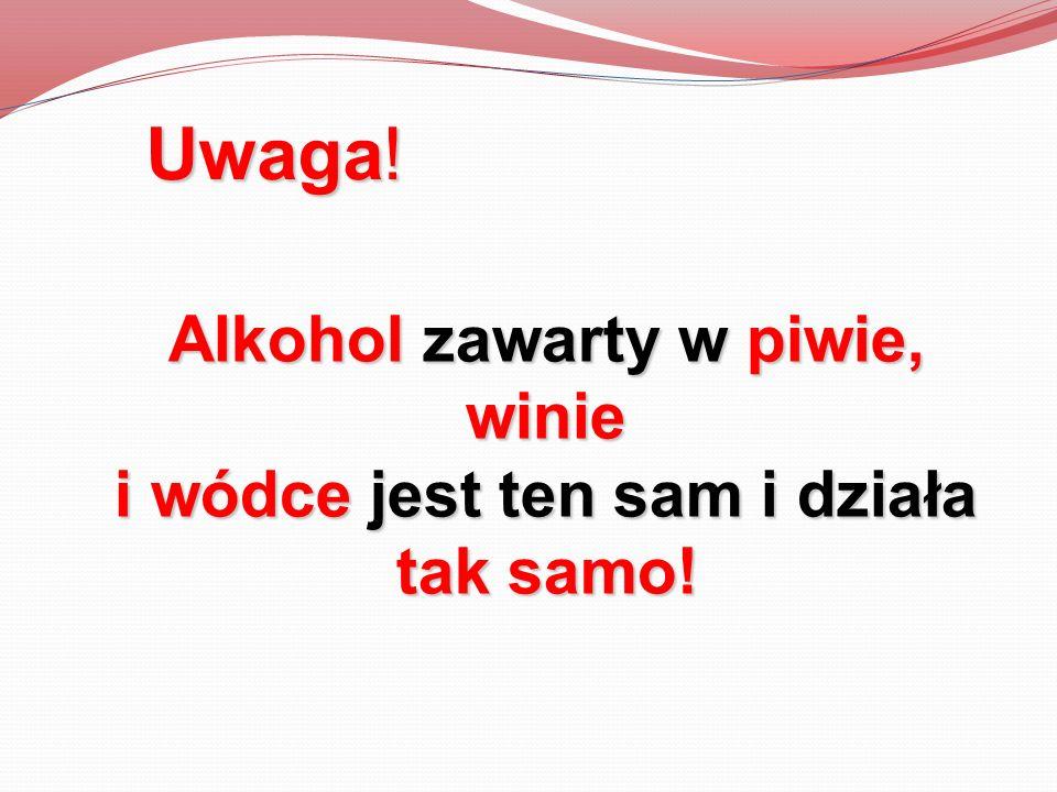 Alkohol zawarty w piwie, winie i wódce jest ten sam i działa tak samo!