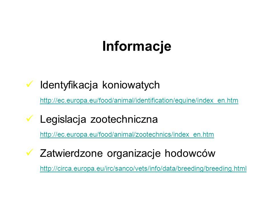 Informacje Identyfikacja koniowatych http://ec.europa.eu/food/animal/identification/equine/index_en.htm.