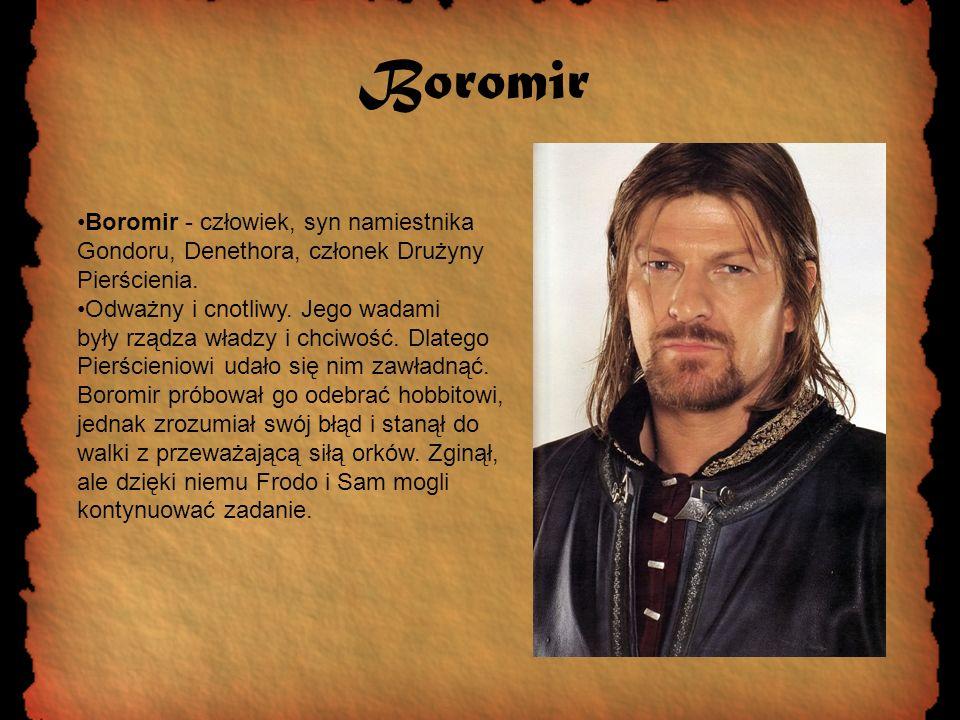 Boromir Boromir - człowiek, syn namiestnika Gondoru, Denethora, członek Drużyny Pierścienia.