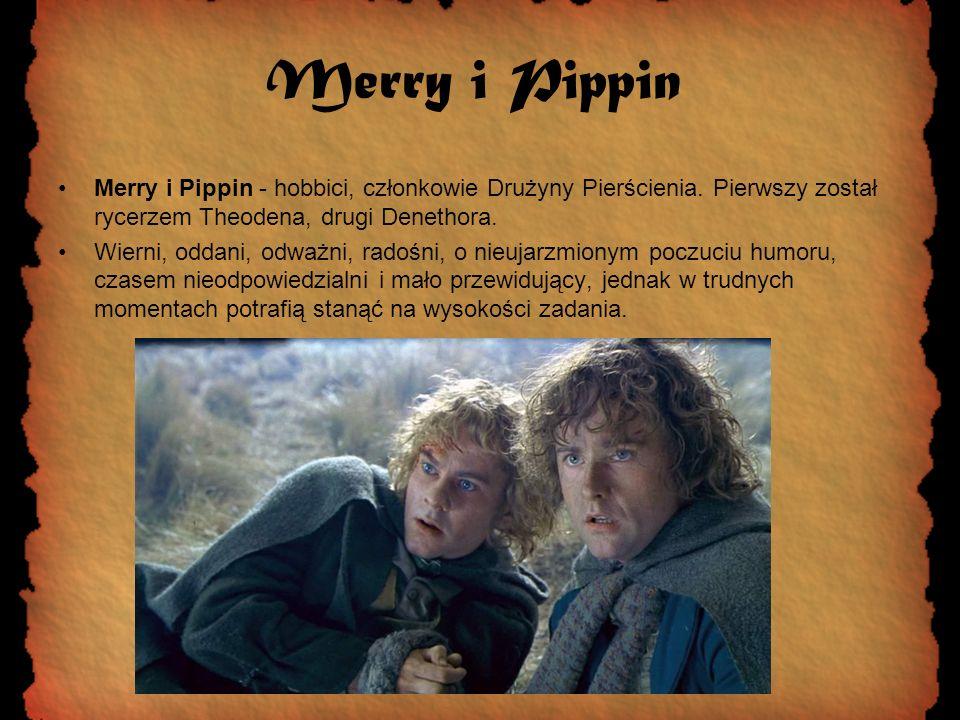 Merry i Pippin Merry i Pippin - hobbici, członkowie Drużyny Pierścienia. Pierwszy został rycerzem Theodena, drugi Denethora.