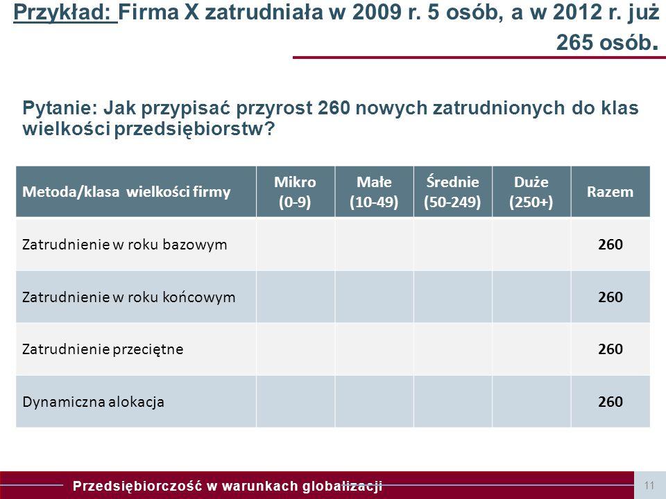 Przykład: Firma X zatrudniała w 2009 r. 5 osób, a w 2012 r