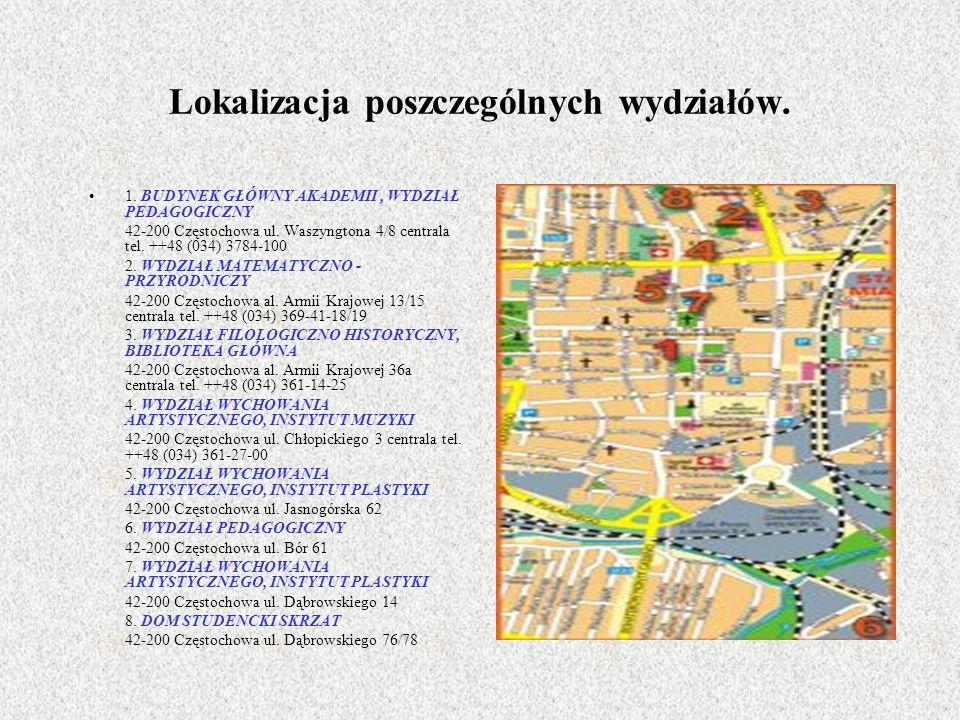 Lokalizacja poszczególnych wydziałów.