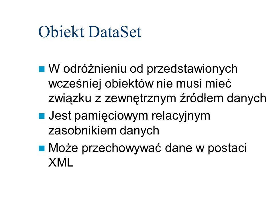Obiekt DataSet W odróżnieniu od przedstawionych wcześniej obiektów nie musi mieć związku z zewnętrznym źródłem danych.