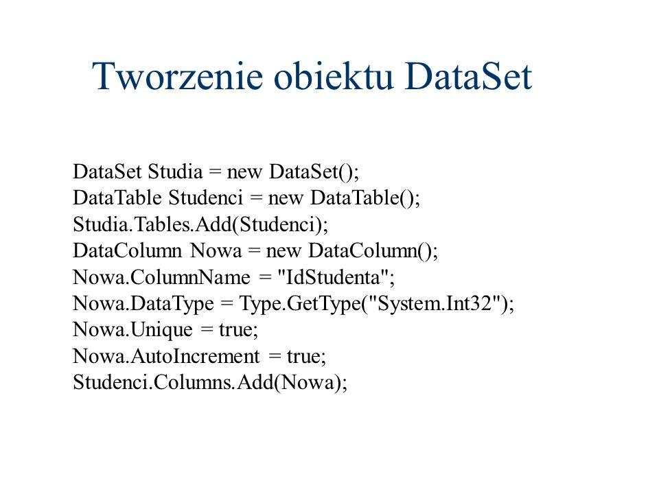 Tworzenie obiektu DataSet