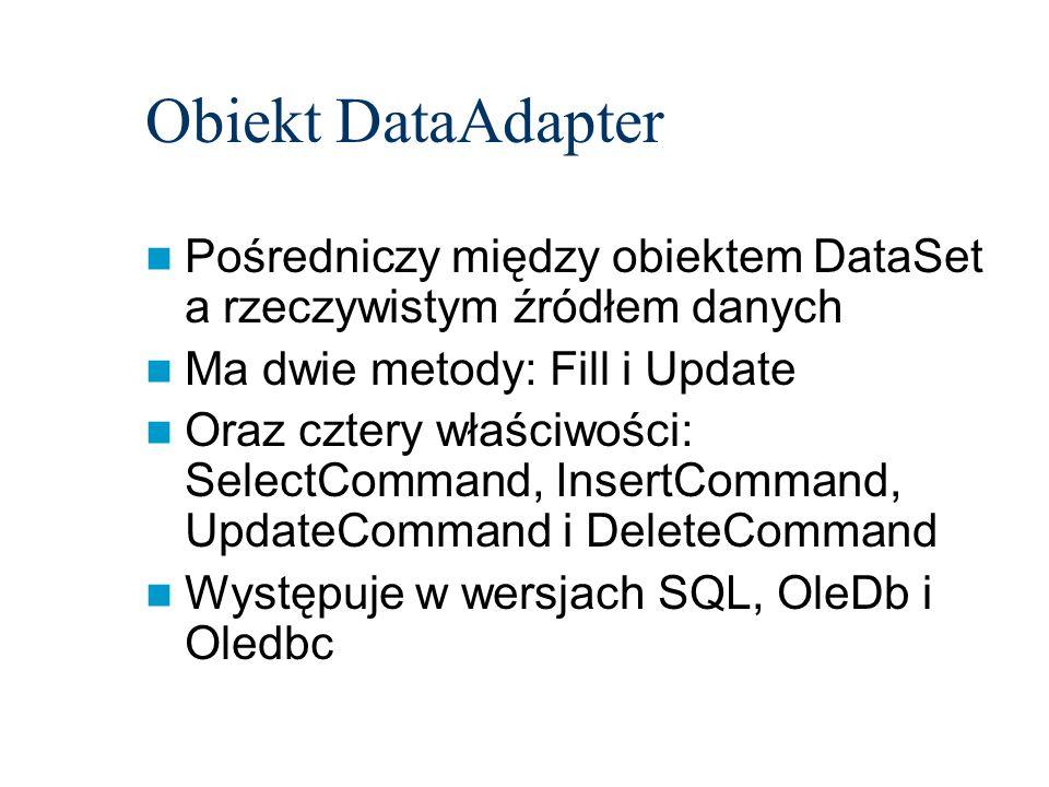 Obiekt DataAdapterPośredniczy między obiektem DataSet a rzeczywistym źródłem danych. Ma dwie metody: Fill i Update.