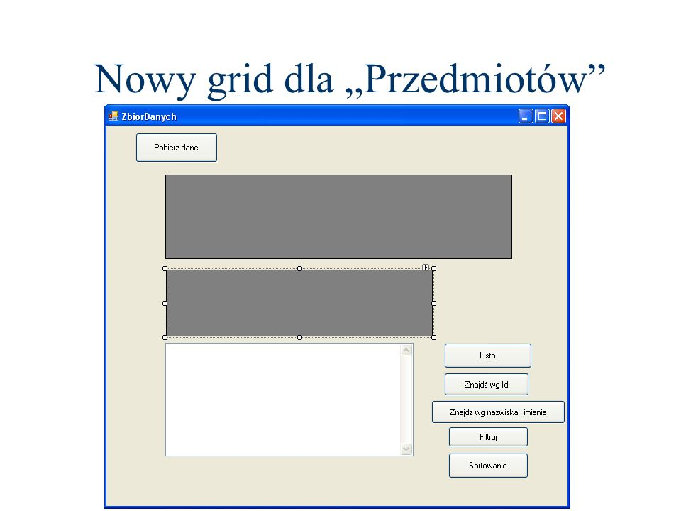 """Nowy grid dla """"Przedmiotów"""