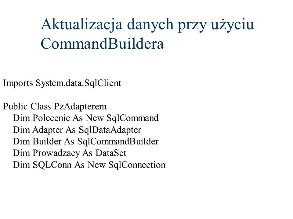 Aktualizacja danych przy użyciu CommandBuildera
