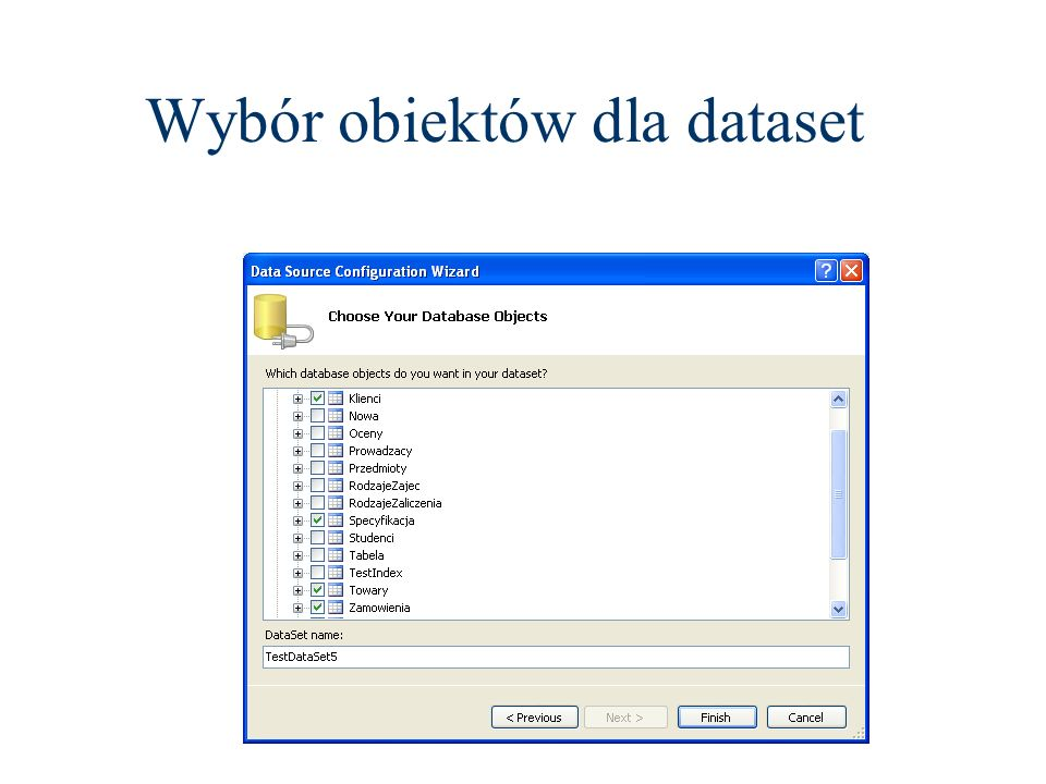 Wybór obiektów dla dataset